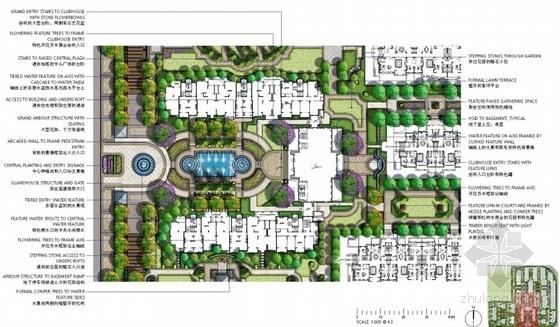 [上海]法式园林风情住宅小区景观方案设计-主入口平面图