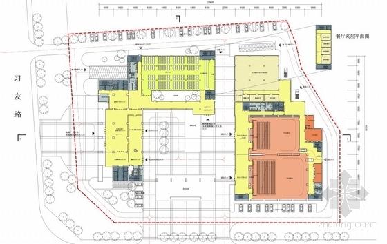 [合肥]大跨度空间广告及电视购物办公综合体建筑设计方案文本(含CAD)-大跨度空间广告及电视购物办公综合体建筑平面图