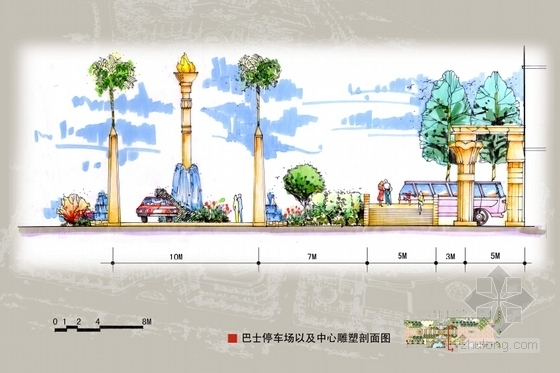 [广东]主题购物中心景观设计方案(超详细、全面)-停车场剖面图