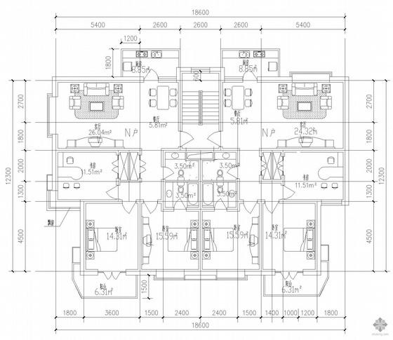 板式多层一梯两户户型图(120/120)