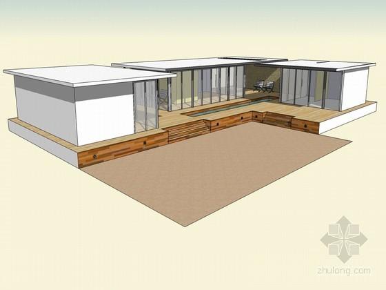 现代组合房子SketchUp模型下载