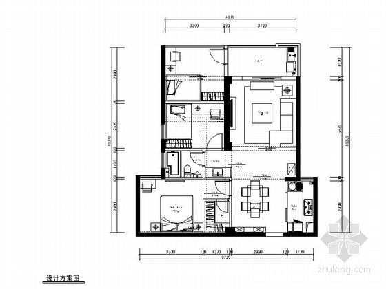 [原创]温馨舒适三室一厅家装CAD施工图(15年作品含效果图)
