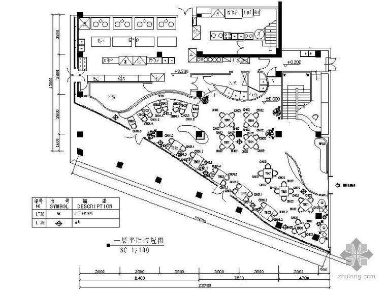 某两层餐厅平面图