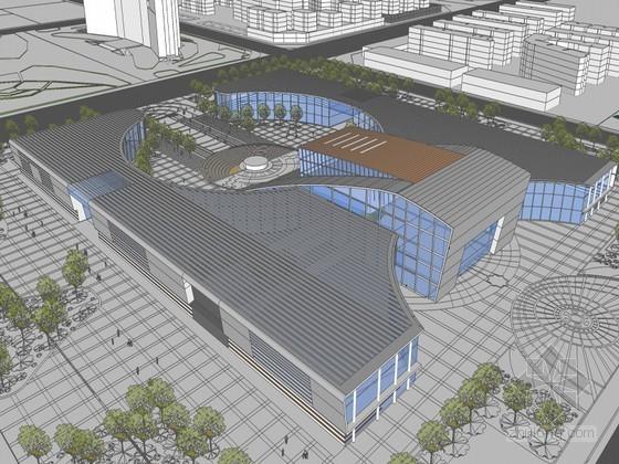文化艺术广场建筑SketchUp模型下载