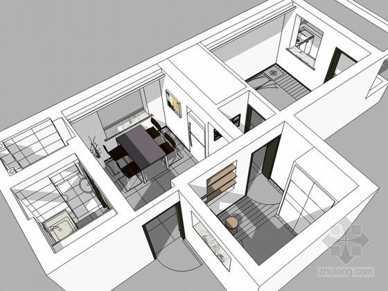 住宅小户型SketchUp模型下载