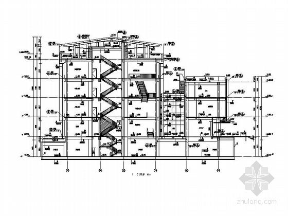 [四川]四层构架屋面弧线型框剪结构县级图书馆建筑施工图-四层构架屋面弧线型框剪结构县级图书馆建筑剖面图