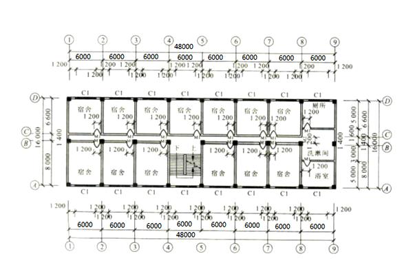 多层框架结构大学宿舍课程设计计算书(word,44页)
