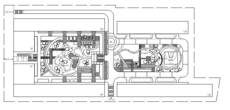 大型屋顶花园 B-1平面图