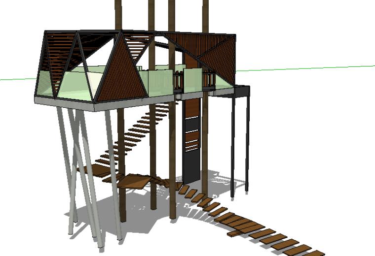 74套树屋·小木屋SU模型1-10