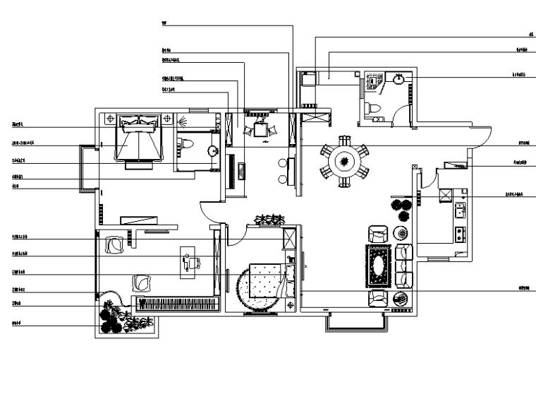 美式乡村风三居室住宅设计施工图(附效果图)