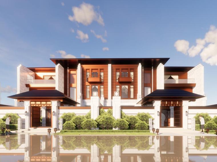 中式联排别墅建筑模型设计(2018年)