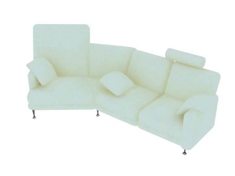 米色沙发3D模型下载