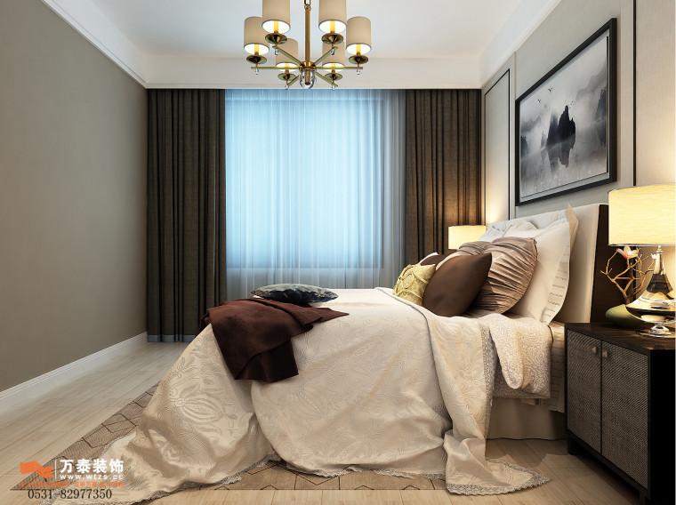 领秀公馆120平三室两厅装修,新中式风格真的很漂亮-主卧.jpg