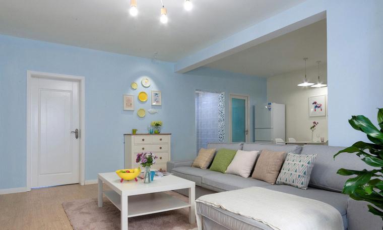 淡蓝色温馨家装,一百一十平米现代简约三居室!