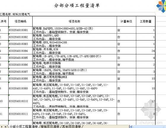 苏州某独墅湖校区一期材料大楼工程量清单(土建、安装)