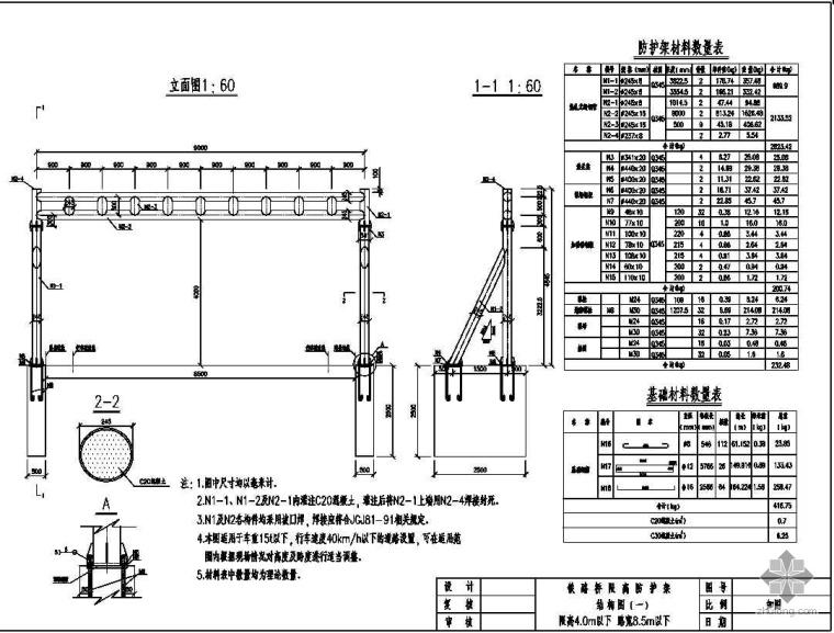 客运专线铁路桥限高防护架设计图