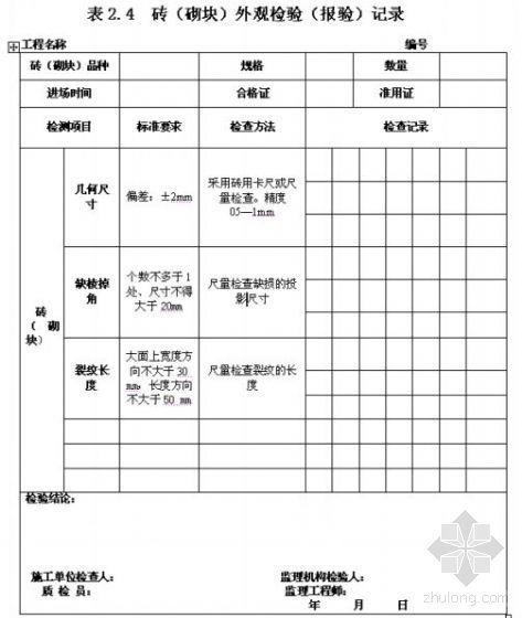 建筑结构工程实体质量检查检验用表