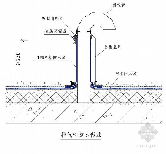 屋面防水工程排气管防水做法节点详图