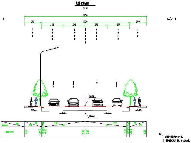 [四川]18m宽4车道市政道路工程设计图纸106张(含排水绿化交通照明)