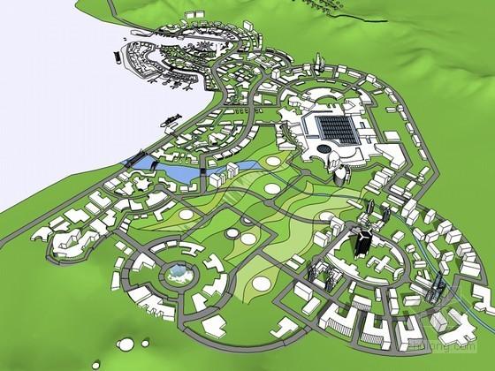 海湾规划建筑SketchUp模型下载
