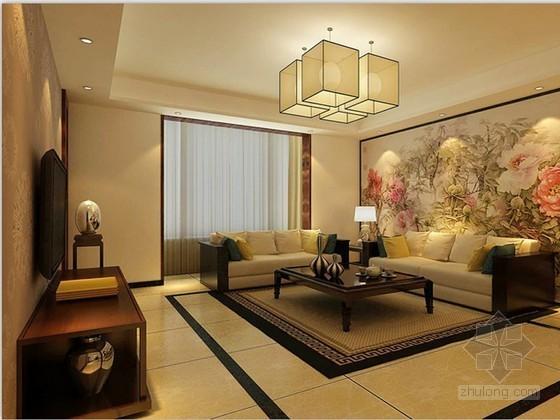 简约中式客厅3D模型下载