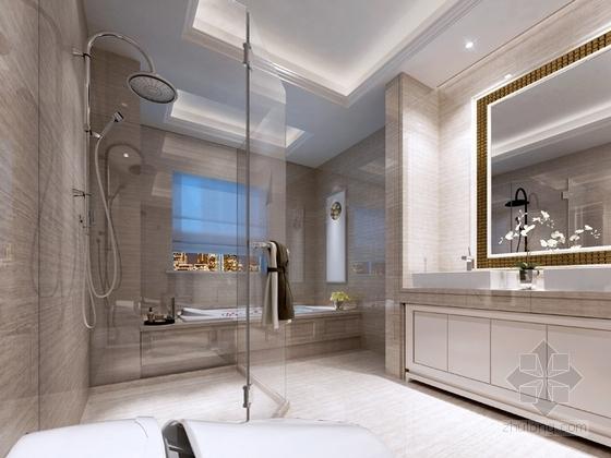 [沈阳]知名地产核心区新古典风格四居室样板间设计方案卫生间效果图