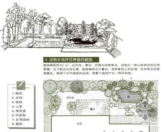 设有鱼池并可养鱼的庭院景观设计图