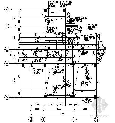 [湖南]三层框架结构别墅结构施工图(异形柱 E户型)