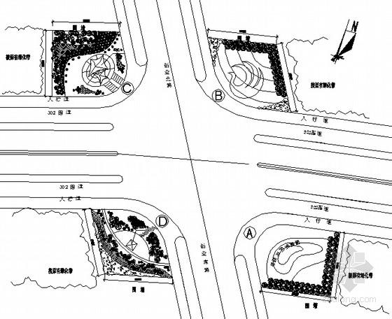 道路路口景观设计施工图