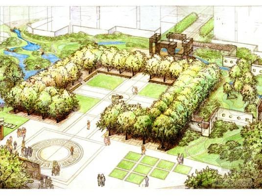 [北京]居住区中心绿地景观概念设计方案图片