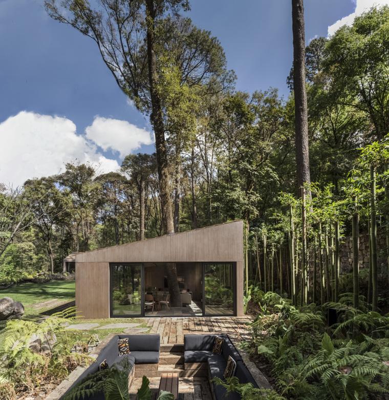 墨西哥浸润在绿意中的L型体量住宅外部实景图 (1)