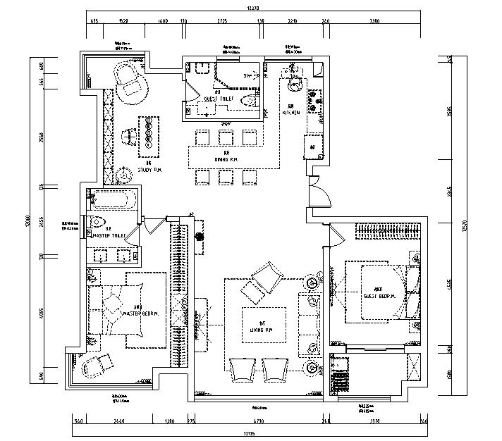 【江苏】简洁黑白灰空间样板房设计施工图(附效果图)_4
