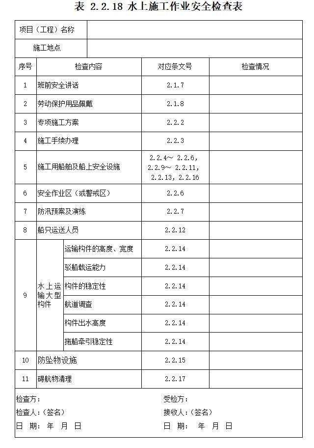 铁路桥涵工程施工安全技术规程表格(全套)-水上施工作业安全检查表