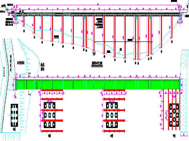 水中桥墩施工栈桥及钻孔平台总体布置图