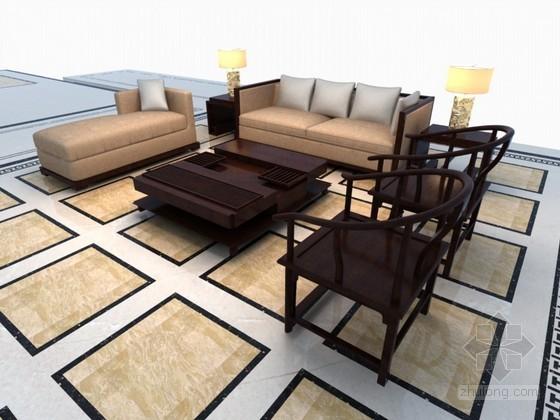 中式现代沙发3D模型下载