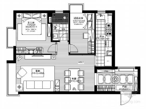 精品名师设计简约现代两居室样板间CAD装修施工图(含效果)