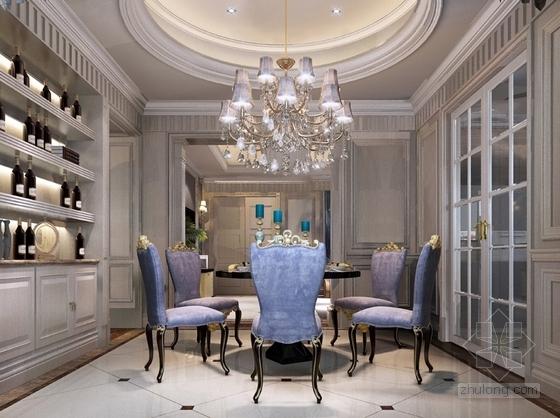[沈阳]知名地产核心区新古典风格四居室样板间设计方案餐厅效果图