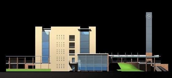 多层现代风格学校规划及单体立面图