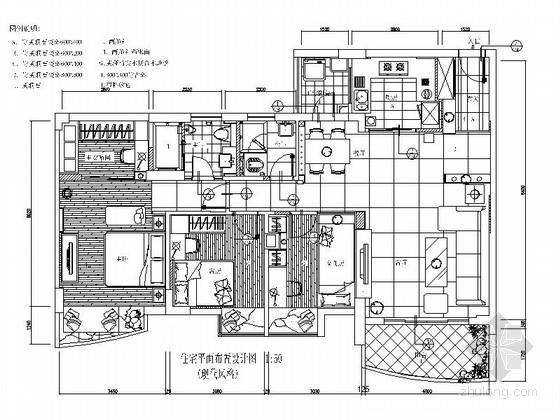 简约现代风格三居室装修施工图(含实景)