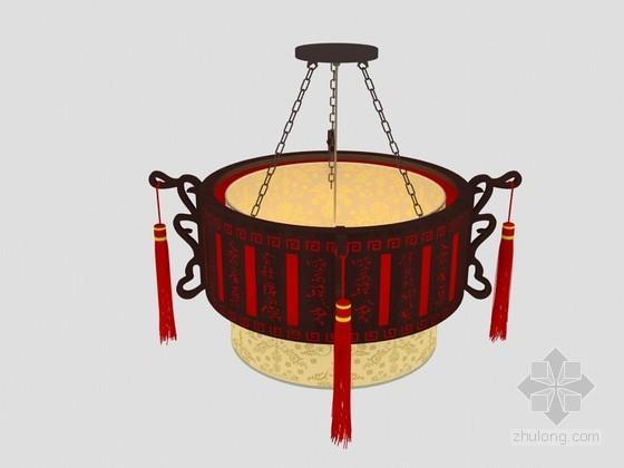 新中式吊灯3D模型下载