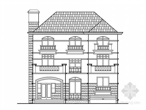 [湖南]某三层欧式别墅建筑施工套图(含效果图)