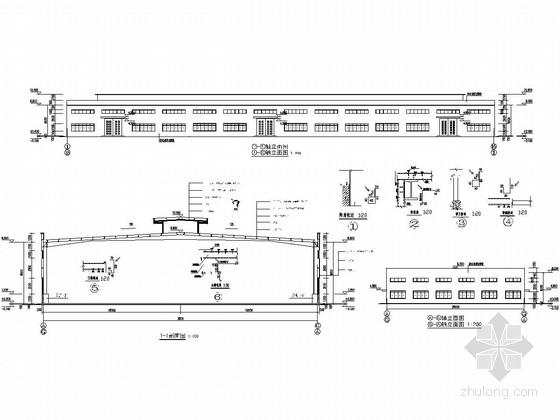[江西]36米跨门式刚架结构厂房结构施工图(含建筑图)