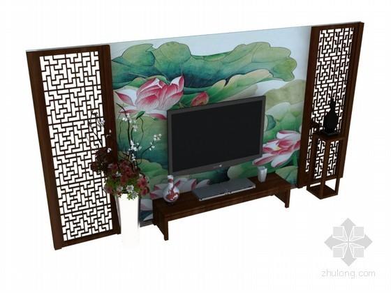 中式背景墙3D模型下载