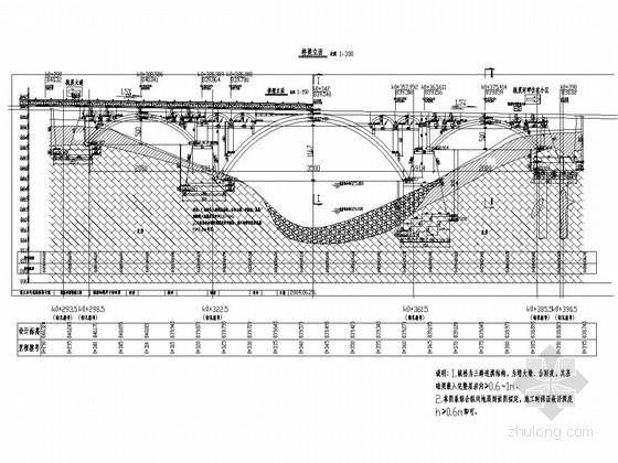 20+35+20m连拱空腹式石拱桥全套施工图(21张)