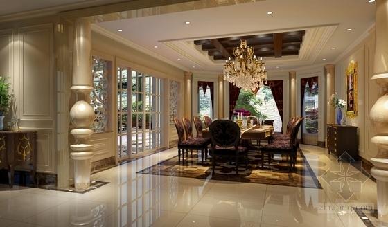 [重庆]高档豪华欧式风格酒店式别墅室内装修施工图(含效果图)餐厅效果图