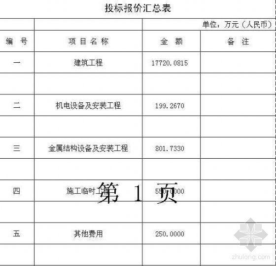 浙江某大型水利围垦工程投标预算