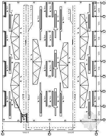 排架柱、屋架预制图及吊装线路图