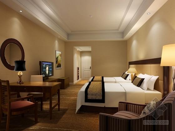 原创]时尚现代商务酒店客房部分装修图(含效果图) 效果图