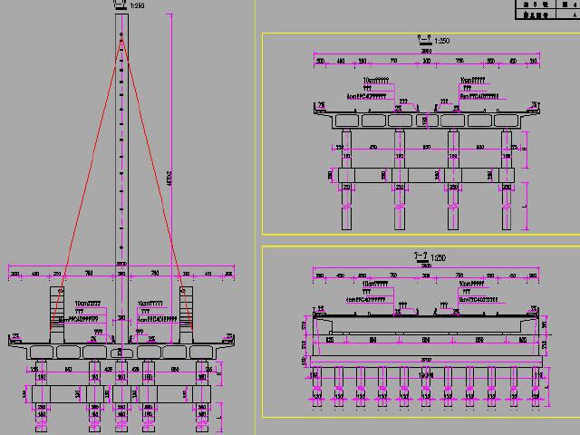 江苏现浇预应力异形斜拉桥主桥及预应力现浇箱梁引桥图纸121张CAD