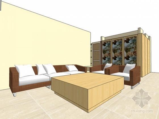 三房两厅家装sketchup模型下载